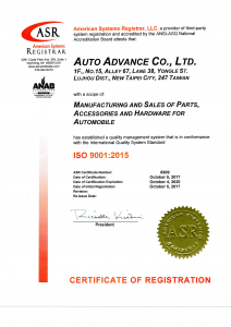 ISO 9001:2015 certified company for auto parts and accessories